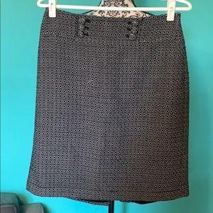 Ann Taylor Patterned High Waist Professional Skirt